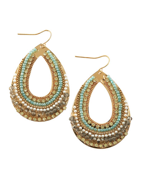 Multi-Bead & Pearl Teardrop Earrings