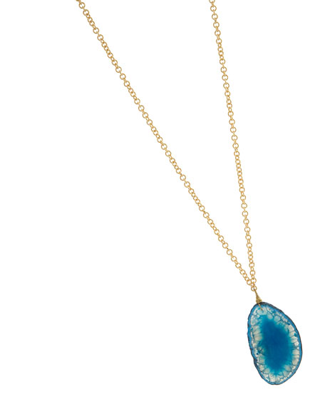 Agate Pendant Necklace, Teal