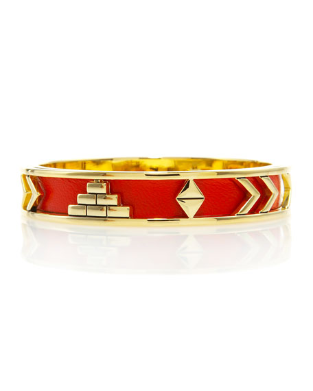 Leather-Inlay Bangle, Coral