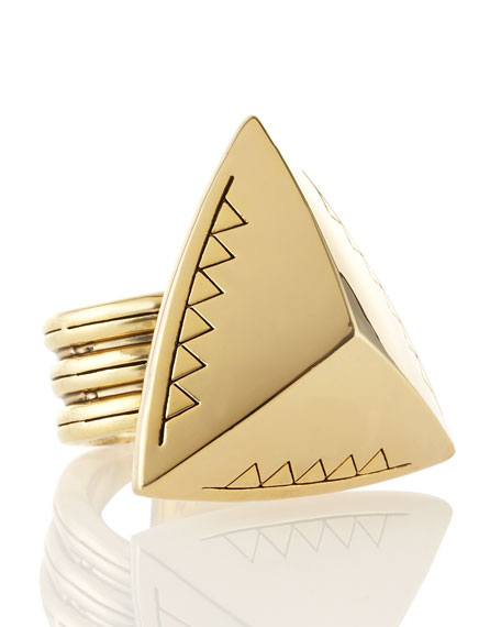 Faceted Triangle Cocktail Ring