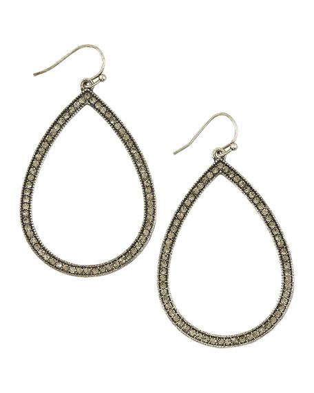 Pave Teardrop Hoop Earrings