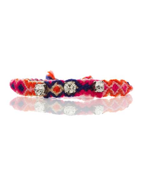 Rhinestone Gypsy Friendship Bracelet, Amethyst
