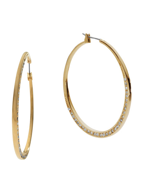 Shiny Pave Medium Hoop Earrings, Golden