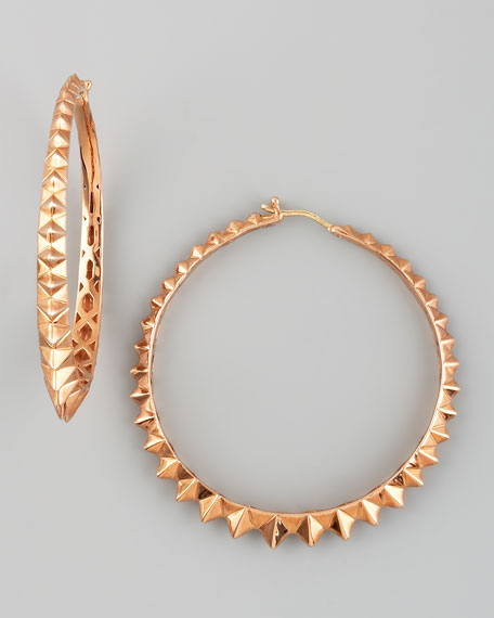 Superstud Hoop Earrings, Rose Gold