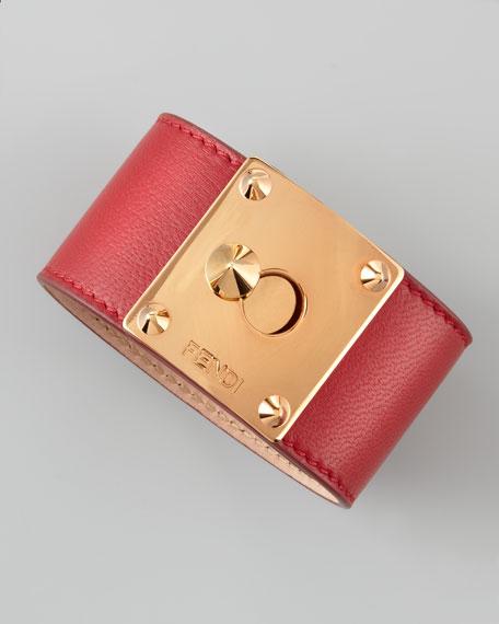 Buckled Leather Bracelet, Red