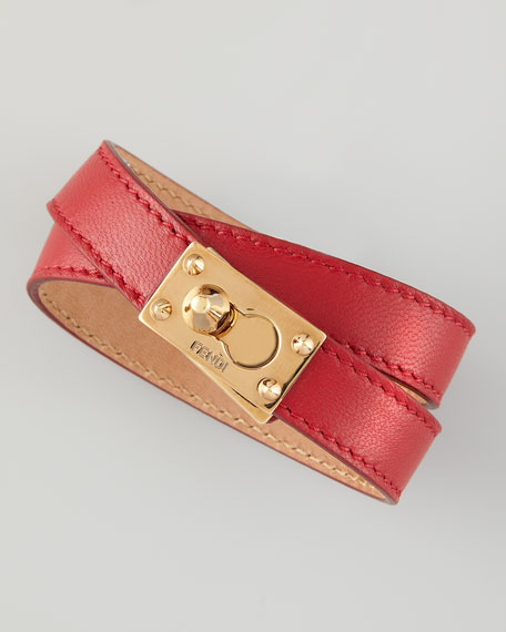 Leather Wrap Bracelet, Red
