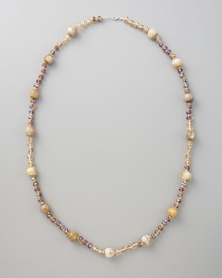 """Agate-Station Crystal Necklace, 36""""L"""