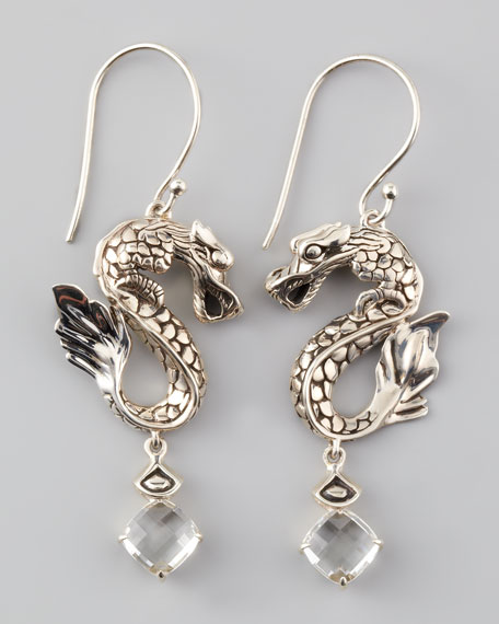 Naga Batu Drop Earrings, White Topaz