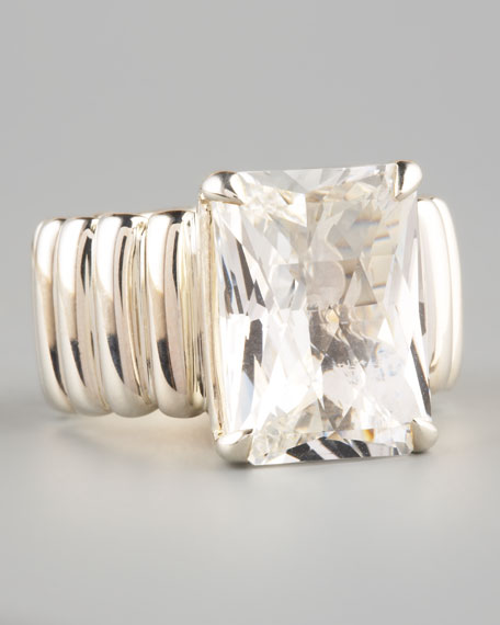 Wide Band Ring, White Topaz