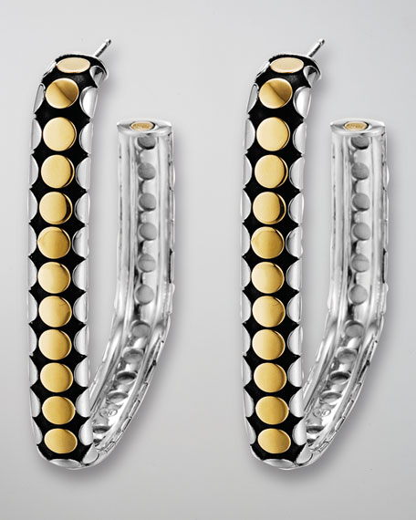 Mixed-Metal Dot Square Hoop Earrings