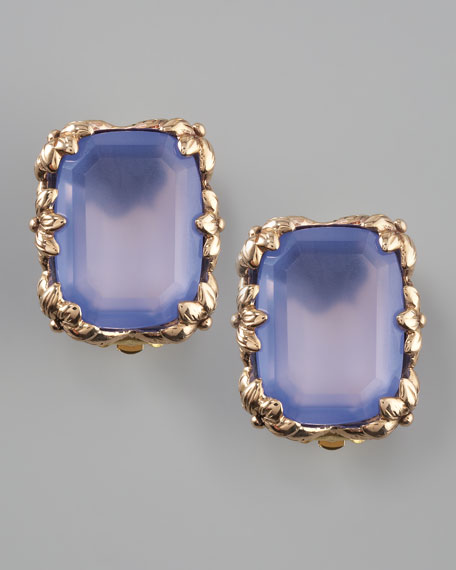 Blue Agate Clip Earrings