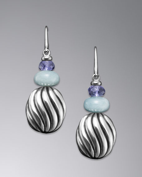 Carved Cable Earrings, Aqua Chalcedony