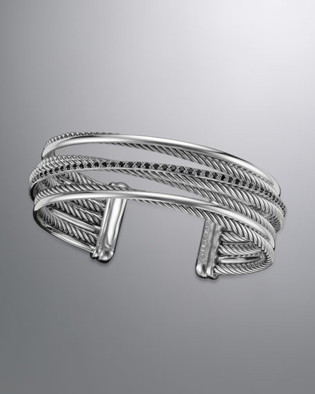 Crossover Four-Row Cuff with Black Diamonds