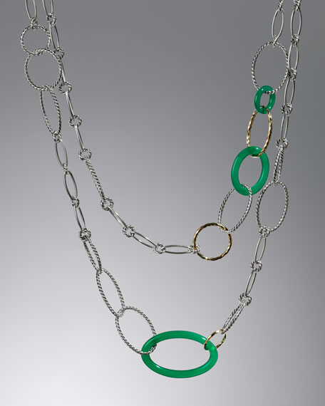 Mobile Chain Necklace, Green Onyx, 42""