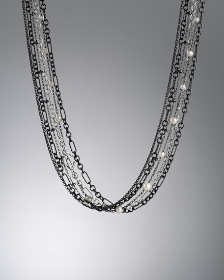 "Midnight Pearl Necklace, 18""L"