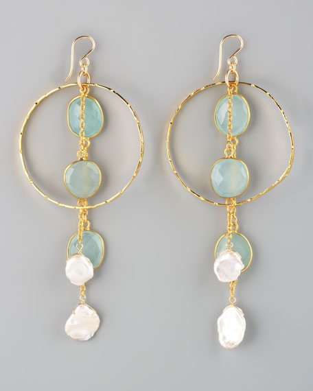 Chalcedony & Pearl Drop Earrings