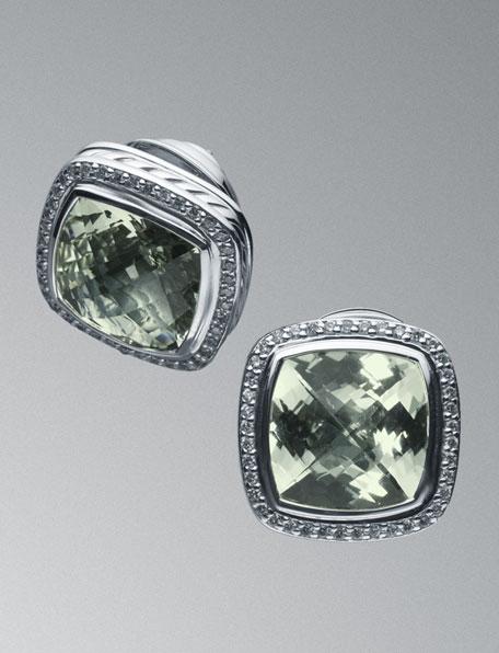 Albion Prasiolite & Diamond Earrings