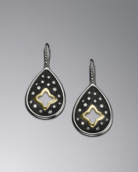 Quatrefoil Earrings, Teardrop, Pave diamond