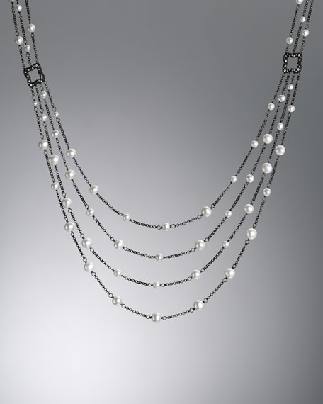 Pearl Drape Necklace with Diamonds