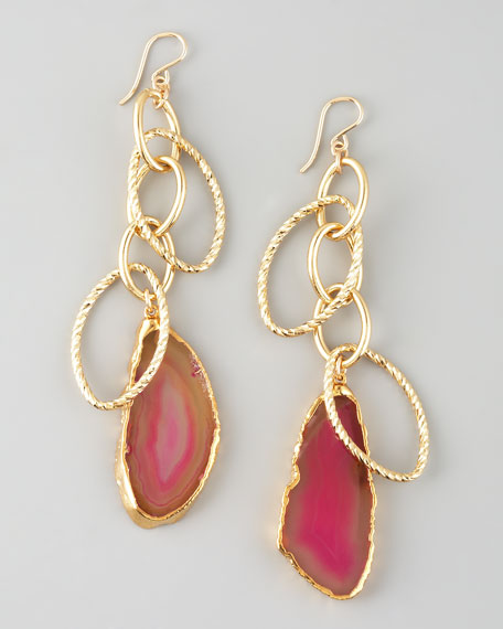 Pink Agate Dangle Earrings
