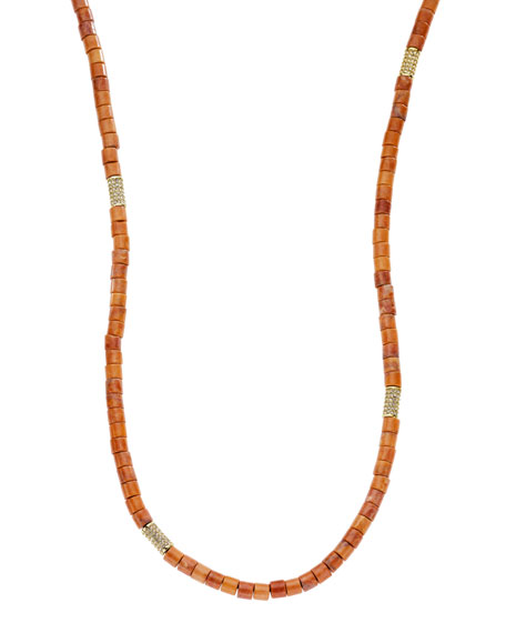 Dyed Howlite Coral Necklace, Golden