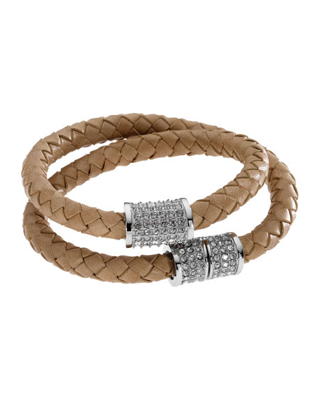 Double-Wrap Braided Leather Bracelet with Pave Detail, Dark Tan