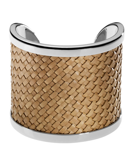 Silver-Color Cuff with Dark Tan Braided Leather Detail