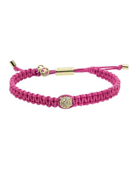 Macrame Pave Fireball Bracelet, Pink