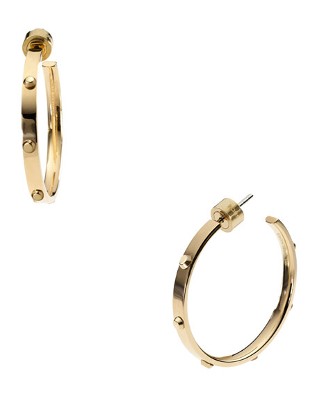Astor Medium Stud Hoop Earrings, Golden