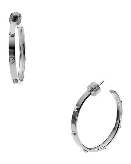 Astor Medium Stud Hoop Earrings, Silver Color