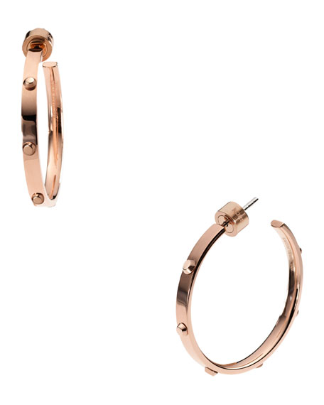 Astor Medium Stud Hoop Earrings, Rose Golden