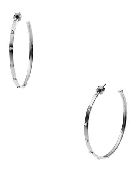 Astor Large Stud Hoop Earrings, Silver Color