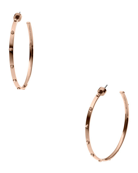 Astor Large Stud Hoop Earrings, Rose Golden
