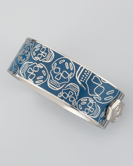 Medium Enamel Skull Bracelet, Prussian Blue