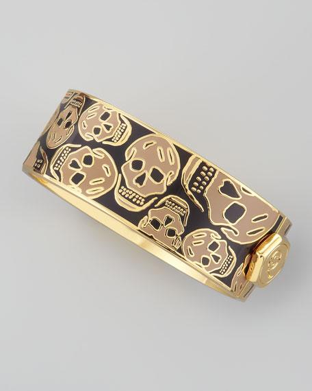 Medium Enamel Skull Bracelet, Aubergine/Camel