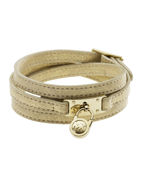 Triple-Wrap Padlock Bracelet, Gold