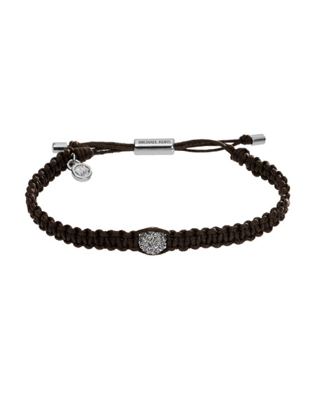 Michael Kors Macrame Pave Bar Bracelet, Dark Chocolate