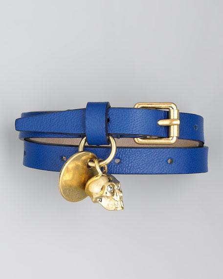 Double-Wrap Leather Bracelet, Prussian Blue