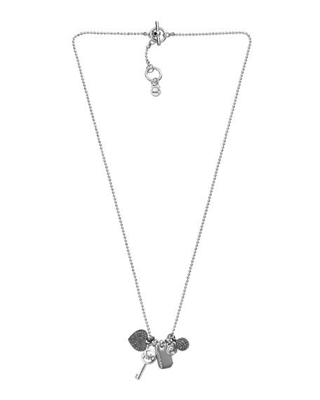 Pave Icon Charm Necklace, Silver Color