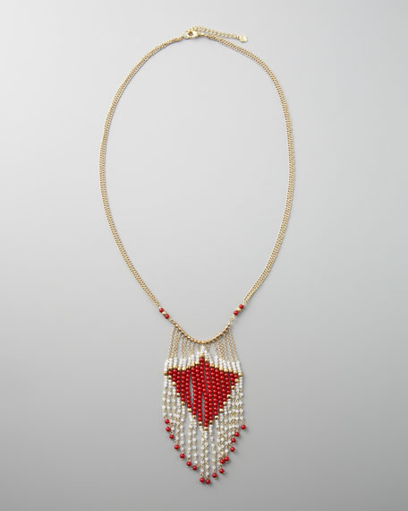 Red-Beaded Fringe Necklace