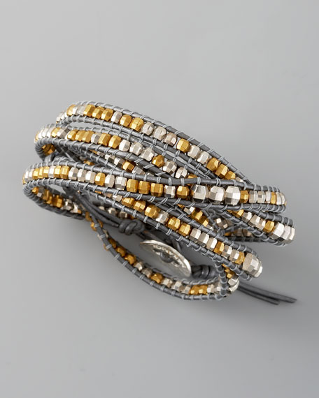 Metallic Beaded Wrap Bracelet, Gray