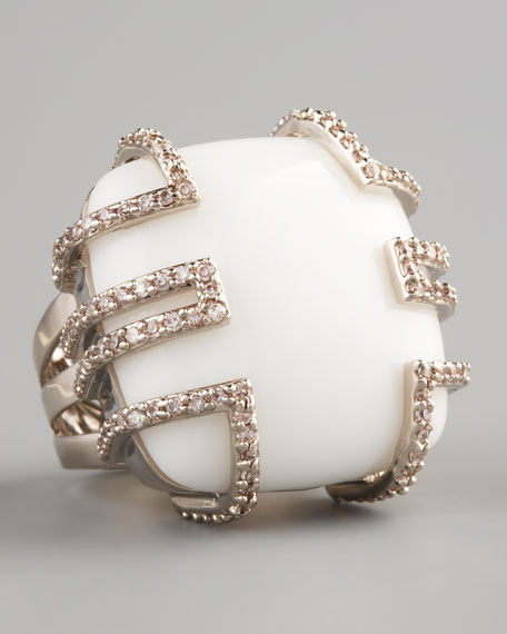 White Enamel Waldorf Ring