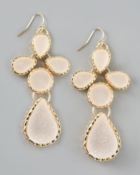 Druzy Teardrop Earrings, White