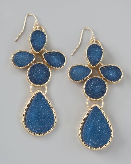 Druzy Teardrop Earrings, Navy