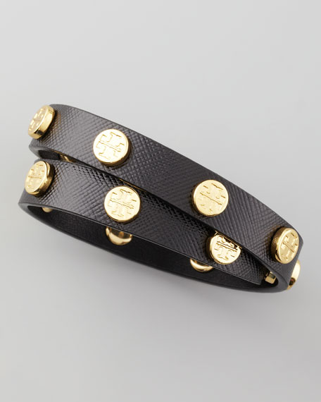 Logo-Studded Wrap Bracelet, Black