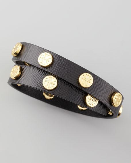 Logo-Studded Wrap Bracelet, Black