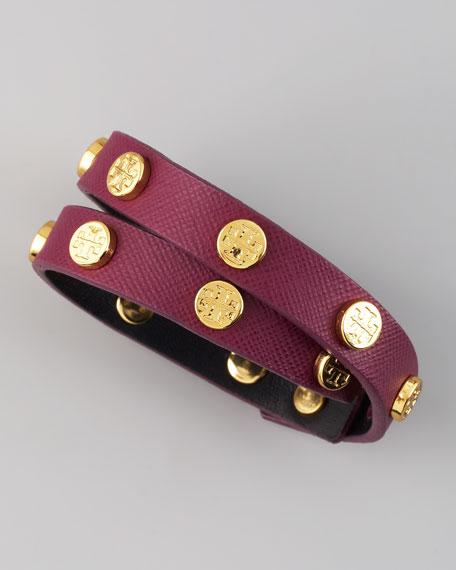 Logo-Studded Saffiano Wrap Bracelet, Violet