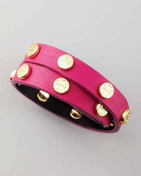 Logo-Studded Wrap Bracelet, Magenta