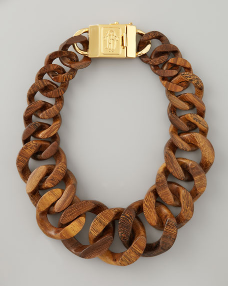 Graduated Wooden Chain Necklace