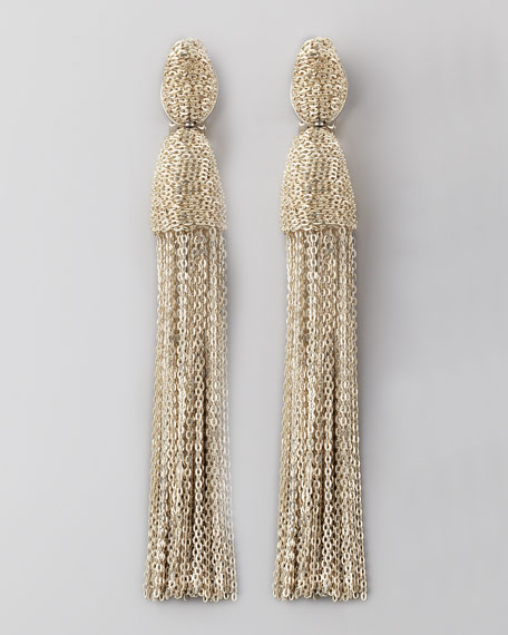 Chain Tassel Earrings, Silver
